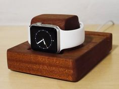 The handcrafted Apple Watch stand designed to work with the Nightstand mode in watchOS 2. Made from furniture grade hardwood.