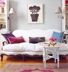 vintage couch, velvet pillows