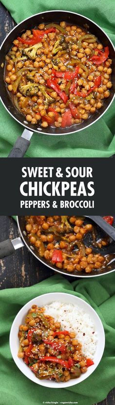 Sweet and Sour Chickpeas, Peppers, and Broccoli. Easy Weeknight One Pot Protein filled Meal. | #vegan #glutenfree :