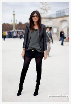 vogue paris street style look: studded leather jacket | loose grey tee shirt | black velvety shorts | black tights