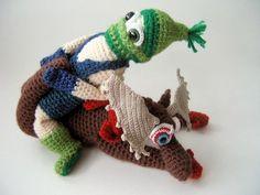 OOAK Crochet Art Doll Soft Sculpture - Maniacal Moose Wrestling. $400.00, via Etsy.