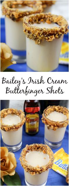 The Bailey's Irish Cream Butterfinger Shots Recipe is creamy, goes down smooth and will be yours and everyone else's favorite party drink. Christmas Drinks Alcohol, Christmas Shots, Holiday Cocktails, Irish Cream Drinks, Baileys Irish Cream, Baileys Drinks, Alcoholic Drinks, Alcohol Drink Recipes, Alcohol Shots