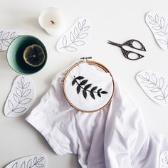 Embroidery - Hand Embroidery - Embroidery t shirt - Embroidery tshirt - Womens clothes - White t shirt - Botanical Embroidery - cupofneedles, Embroidery On Clothes, Shirt Embroidery, Embroidered Clothes, Modern Embroidery, Embroidery Hoop Art, Embroidered Leaves, Embroidery Stitches Tutorial, Hand Embroidery Patterns, Diy Clothing