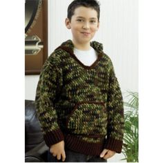 Free Kid's Camo Hooded Sweatshirt Crochet Pattern