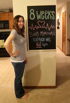 8 weeks pregnancy chalkboard