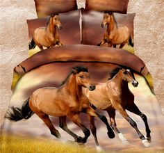 Babycare Pro Running Horses Polyester Duvet Cover Bedding Set 4 Piece( 1 Duvet Cover, 1 Flat Sheet, 2 Pillowcases, Comforter Not Included) (Queen) 3d Bedding Sets, Queen Bedding Sets, Duvet Bedding, Comforter Sets, Bedding Decor, Tigre Animal, Queen Bed Linen, Horse Themed Bedrooms, Horse Rooms