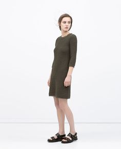 Image 1 of FRINGED TEXTURED DRESS from Zara