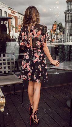 Floral dress and velvet heels