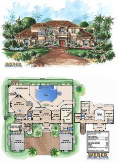 Mediterranean homes – Mediterranean Home Decor Sims House Plans, House Floor Plans, Casas Country, Different House Styles, Mediterranean House Plans, Tuscan House, Mansions Homes, House Blueprints, Waterfront Homes