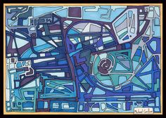 """Letraset Ink Drawing by Artist Michael Carlton - """"Blues"""" Blue Art, 10 Years, City Photo, Insight, Blues, Ink Drawings, Artist, Collection, Blue Artwork"""