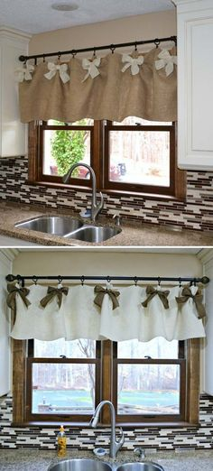 , 20 Very Cheap and Easy DIY Window Valance Ideas You Would Love , Sew a burlap valance and adorn it with burlap bows in a different color. Burlap Valance, Burlap Bows, Diy Curtains, Rustic Valances, Farmhouse Valances, Bedroom Valances, Curtain Valances, Burlap Crafts, Diy Bedroom