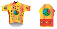 Bicycle Jersey - Retro Peace Bicycle Jerseys, Bike Shirts, Gifts For Triathletes, Road Bike, Biking, Cycling, Peace, Foods, Retro