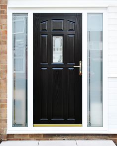 Stunning Bespoke Glass Design service with Sandblasted design and Border with Black Falconier Composite Front Door and matching Side Panels! & If you are looking for top-class doors and windows shop in Kingston ...
