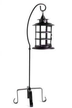 """CLEARANCE Garden Candle Lantern With Stand - Iron & Glass - Large 35"""" $29.99 very cool look for front on house"""