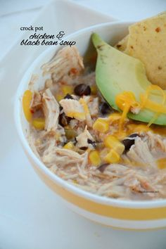 So easy and delicious. This one is a go to recipe for our family.  Crock Pot Chicken and Black Bean Soup | theidearoom.net