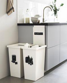 Marvelous Kitchen On Ikea Recycling Bins Kitchen Home Organisation, Kitchen Organization, Kitchen Storage, Kitchen Decor, Kitchen Design, Ikea Storage, Kitchen Ideas, Ikea Bins, Kitchen Bins