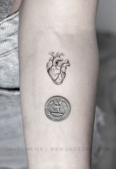 anatomical heart fine line single needle tattoo at the scale of a quarter coin. Done by Daniel Meyer in Los Angeles California. Single Needle Tattoo, Single Line Tattoo, Daniel Meyer, Tattoo Process, Anatomical Heart, Fine Line Tattoos, Dot Work Tattoo, Special People, Blackwork