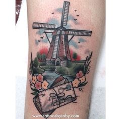 tattoosbytoby:  This one was inspired by coming to holland to meet her pen pal. Love doing these little windmill scenes!  Toby Gawler