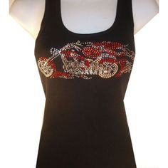 Black Rhinestone Bling Studded Motorcycle Riding Tank Top -