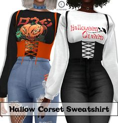 Lumy Sims - Hallow Corset Sweatshirt for The Sims 4 Sims 4 Body Mods, Sims Mods, Sims 4 Mods Clothes, Sims 4 Clothing, Female Clothing, Sims 4 Black Hair, Sims 4 Characters, Sims 4 Dresses, Sims4 Clothes