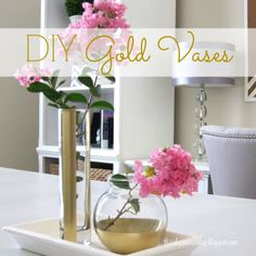 add glam to plain vases with metallic gold spray paint