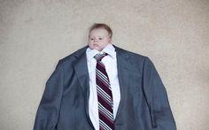 Babies in big suits