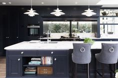 Renovated and handcrafted kitchen, from hardwood and topped with natural stone from Wicklow. Get your kitchen plan now! White Counters, Brown House, Kitchen Island With Seating, Storage Design, Built Ins, House Colors, Kitchen Design, Kitchen Ideas, Layout Design