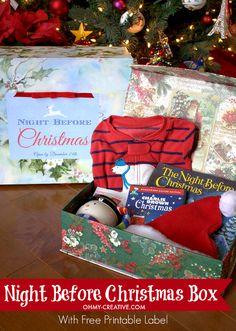 night before christmas box free printable label, christmas decorations, crafts, seasonal holiday decor