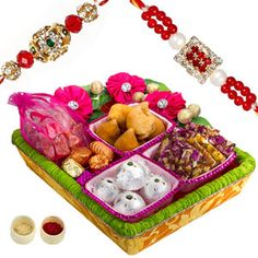 Rakhi Jumbo Combo :  Designer hamper made of satin tissue and designer lace, decorated with satin flowers and filled with choicest delicacies for your loved ones. Rs 1213/- http://www.tajonline.com/rakhi-gifts/product/r4531/rakhi-jumbo-combo/?aff=pint2014/