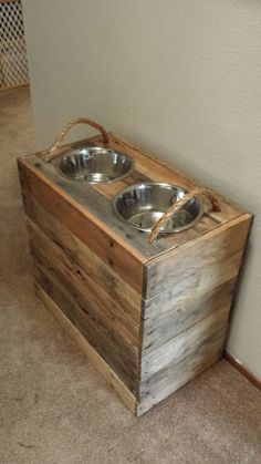 Large Dog- Reclaimed, dog food bowl stand- with food storage inside, customizable #DogBowls