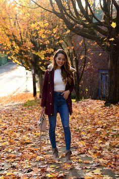 Burgundy Jacket by Hapa Time Fall Outfits 2018, Cute Winter Outfits, Cute Outfits, Bomber Jacket Outfit, Jacket Dress, Jacket Jeans, Hapa Time, Jessica Ricks, Outfit Invierno