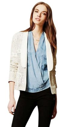 Anthropologie Vegan Lacey Leather NWT Ivory Blazer. Free shipping and guaranteed authenticity on Anthropologie Vegan Lacey Leather NWT Ivory BlazerAnthropologie Vegan Lacey Leather Blazer  by Dolce...