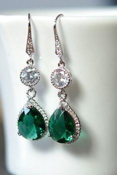 Emerald Green Teardrop Dangle Earrings Angelina by thefabwedding2, $39.99