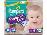 Fraldas Pampers Premium Care Pacotão M - 24 Unidades