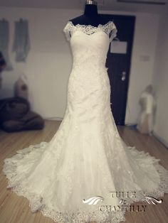 Gorgeous Off-the-Shoulder Mermaid Tulle and Lace Wedding Dresses