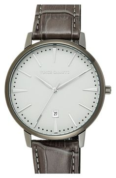 Men's Vince Camuto Round Leather Strap Watch