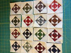 """Mini Civil War Quilt Blocks Beautiful 3"""" Finished, Handmade"""