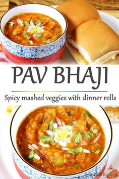 Pav bhaji is a delicious spicy veggie mash (bhaji) served with soft butter toasted dinner rolls known as pav. Topped with a generous amount of butter, onions and herbs! Healthy Dinner Recipes, Indian Food Recipes, Vegetarian Recipes, Healthy Food, Curry Recipes, Beef Recipes, Cooking Recipes, Bhaji Recipe, Samosa Recipe