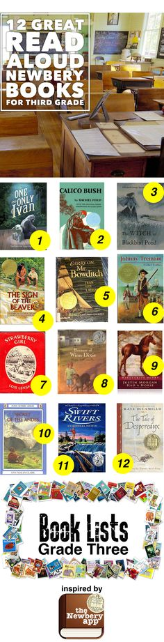 This is a great list of 12 Newbery books that are great read aloud to third graders. 1. The One and Only Ivan/ 2. Calico Bush/ 3.The Witch of Blackbird Pond/ 4.The Sign of the Beaver/ 5.Carry On Mr. Bowditch/ 6.Johnny Tremain/ 7.Strawbery Girl/ 8.Becasue of Winn Dixie/ 9.Justin Mrogan Had A Horse/ 10. Secret of the Andes/ 11. Swift Rivers/ 12. Tale of Despereaux -- Check out the Newbery App for more #3rdfor3rd  #booklists --