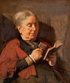 Woman Reading w. Help of Magnifying Glass, Carl Vilhelm Holsoe (1863-1935), Danish   /   csf