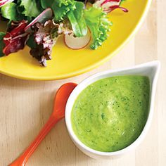 Creamy Cucumber-Avocado Dressing (2 garlic cloves, minced  1/2 English cucumber    1 avocado, peeled and pitted    1 cup baby spinach    1/2 cup fresh mint leaves  2 spring onions  or green onions    Fresh juice of 1 lemon  2 tablespoons olive oil  1/2 teaspoon freshly ground white or black pepper  1 teaspoon sea salt)