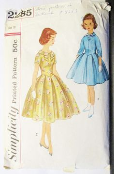1950s Vintage Sewing Pattern Simplicity 2285 Girls One-Piece