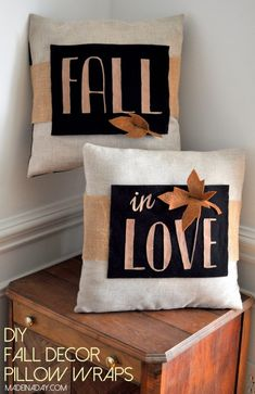 DIY Fall Decor Pillow Wrap madeinaday.com