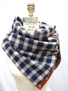 Chunky wool navy plaid circular infinity scarf by System63 on Etsy