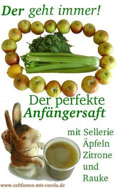 Apfel-Selleriesaft mit Zitrone und mehr, ist der perfekte Anfängersaft, mit dem man frisch am Saftfasten Interessierte nicht gleich nachhaltig verschreckt :)