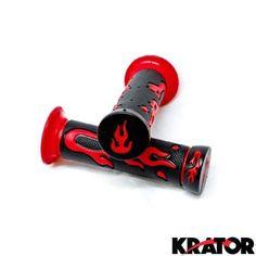 Krator® ATV / PWC Flame Gel Racing Grips Handle Bar Pair For Polaris Trail Boss, red