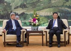 Chinese President Xi Jinping and US Secretary of State John Kerry hold a meeting at the Great Hall of the People in Beijing