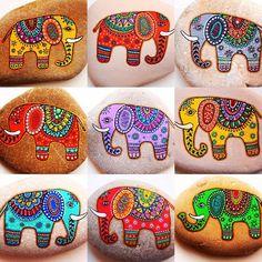 elephant design - 50 Best Animal Painted Rocks for Beginner Rock Painters Dot Art Painting, Rock Painting Designs, Pebble Painting, Pebble Art, Stone Painting, Stone Crafts, Rock Crafts, Caillou Roche, Elephant Artwork