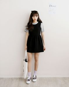 Korean fashion - black dress, grey t-shirt, sneakers