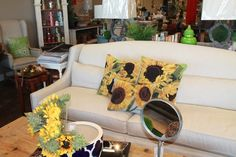 Love the sunflower pillows! from Red Door Home Store, Topeka